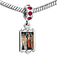 Charms Beads - red crystal dangle botticelli primavera art Image.