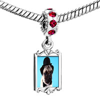 Charms Beads - red crystal dangle pug dog in a derby hat Image.