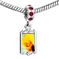 Charms Beads - red crystal dangle yellow calla lily flower Image.