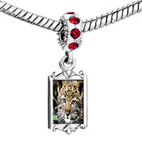 Charms Beads - red crystal dangle baby leopard cub Image.