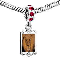 Charms Beads - red crystal dangle king the jungle lion Image.