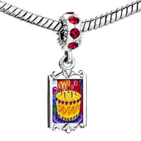 Charms Beads - red crystal dangle birthday cake cles Image.