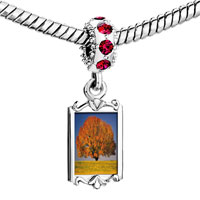Charms Beads - red crystal dangle tree in autumn Image.