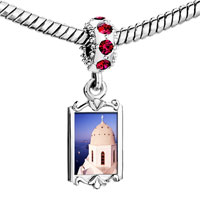 Charms Beads - red crystal dangle cross on a church Image.