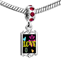 Charms Beads - red crystal dangle love hearts flowers Image.