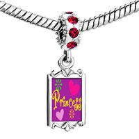 Charms Beads - red crystal dangle princess hearts flowers Image.