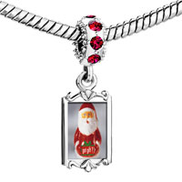 Charms Beads - red crystal dangle santa clause got gift Image.