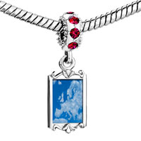 Charms Beads - red crystal dangle blue sky clouds Image.