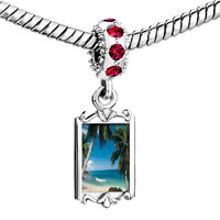Charms Beads - red crystal dangle tropical beach scene Image.