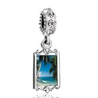 Clear Crystal Dangle Tropical Beach Scene