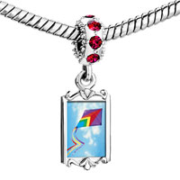 Charms Beads - red crystal dangle flying a purple kite Image.