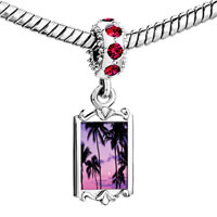 Charms Beads - red crystal dangle tropical sunset Image.