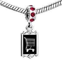 Charms Beads - red crystal dangle shopping cart Image.
