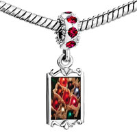 Charms Beads - red crystal dangle christmas ornament balls Image.