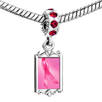 Charms Beads - red crystal dangle breast cancer pink ribbon Image.