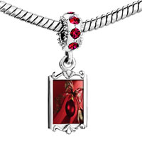 Charms Beads - red crystal dangle christmas ornament ribbon Image.