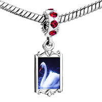 Charms Beads - red crystal dangle swimming swan Image.