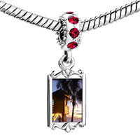 Charms Beads - red crystal dangle tropical beach lifeguard hut Image.