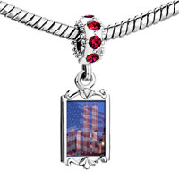 Charms Beads - red crystal dangle american twin towers Image.