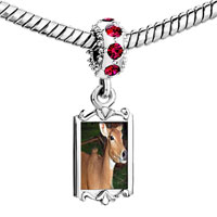 Charms Beads - red crystal dangle deer in the trees Image.