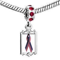 Charms Beads - red crystal dangle usa flag ribbon Image.