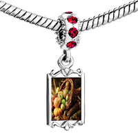 Charms Beads - red crystal dangle thanksgiving horn plenty Image.