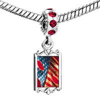 Charms Beads - red crystal dangle usa flag mask Image.