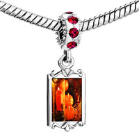 Charms Beads - red crystal dangle jack o lantern halloween pumpkin cle thanksgiving decorations Image.