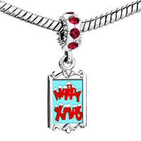 Charms Beads - red crystal dangle happy xmas Image.