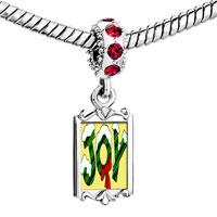 Charms Beads - red crystal dangle snow covered joy Image.
