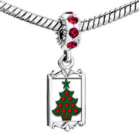 Charms Beads - red crystal dangle heart christmas tree Image.