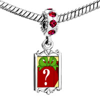 Charms Beads - red crystal dangle mystery gift box Image.