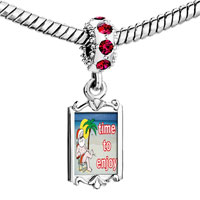 Charms Beads - red crystal dangle santa at the beach Image.