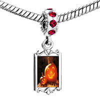 Charms Beads - red crystal dangle smiling jack o lantern halloween pumpkin face lanterns Image.