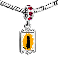 Charms Beads - red crystal dangle black cat silhouette Image.