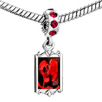 Charms Beads - red crystal dangle halloween death skeleton Image.