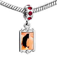 Charms Beads - red crystal dangle black cat Image.