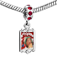 Charms Beads - red crystal dangle christmas hamster cookie Image.
