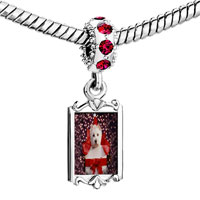 Charms Beads - red crystal dangle puppy christmas gift Image.