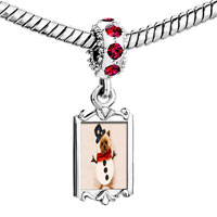 Charms Beads - red crystal dangle puppy snowman Image.