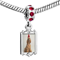 Charms Beads - red crystal dangle shaggy santa dog Image.