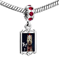 Charms Beads - red crystal dangle is it christmas yet Image.