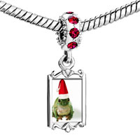 Charms Beads - red crystal dangle santa frog Image.