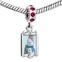 Charms Beads - red crystal dangle snowman christmas tree Image.