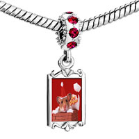 Charms Beads - red crystal dangle santa claus mouse Image.