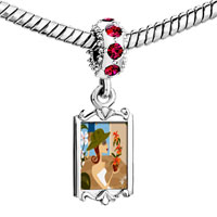 Charms Beads - red crystal dangle flower shopping Image.