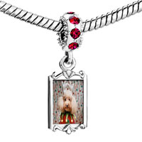 Charms Beads - red crystal dangle christmas jester dog Image.