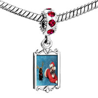 Charms Beads - red crystal dangle santa christmas rudolph reindeer dogs Image.