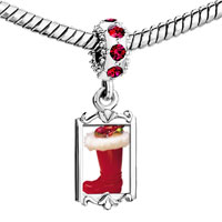 Charms Beads - red crystal dangle christmas ornament boot Image.