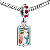 Charms Beads - red crystal dangle making a snowman Image.